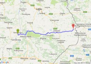 Sandomierz (świętokrzyskie) - Hrubieszów (lubelskie)