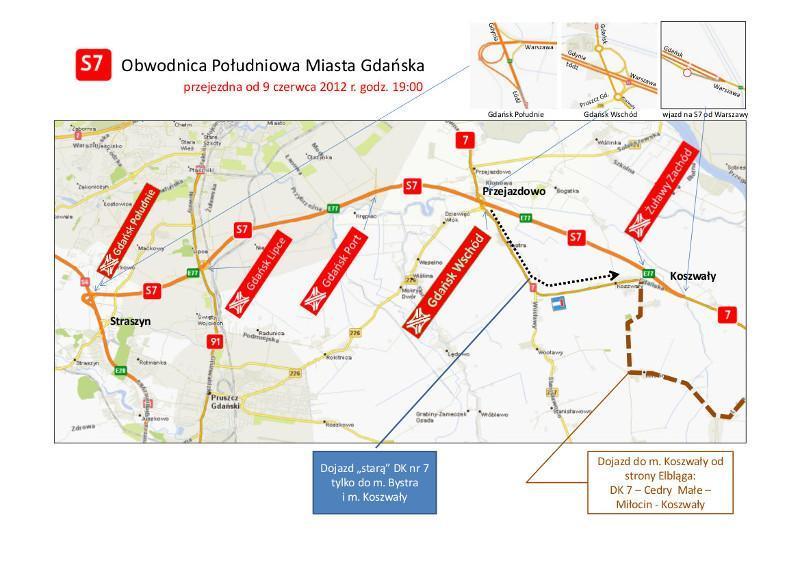 Węzły na drodze ekspresowej S7 - obwodnicy południowej Gdańska